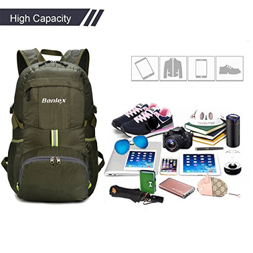 Foldable Backpack Packable Travel Backpack - 35L Durable Ultra Lightweight Water Resistant Packable Lightweight Backpack for Women,Men and Girls
