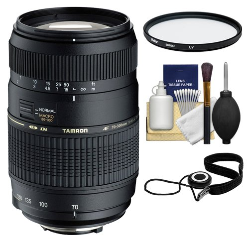 Tamron 70-300mm Di LD Macro Zoom Lens with Built In Motor + 62mm UV Filter + Accessory Kit for Nikon Digital SLR Cameras