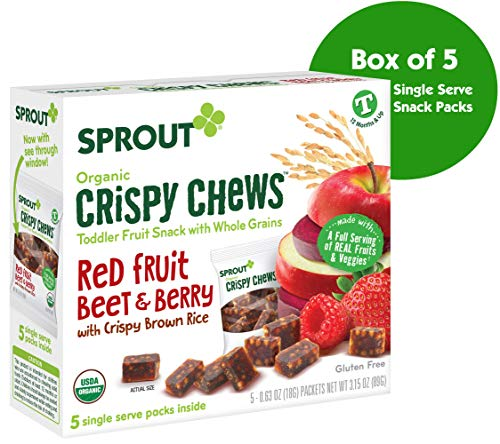 Sprout Organic Crispy Chews Toddler Snacks, Red Fruit Beet & Berry, 0.63 Ounce Single Serve Packets (Box of - Snacks Food Finger