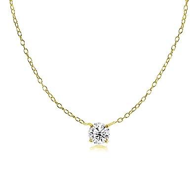1e1eb2abb0e73 Amazon.com: Yellow Gold Flashed Sterling Silver Small Dainty Round ...