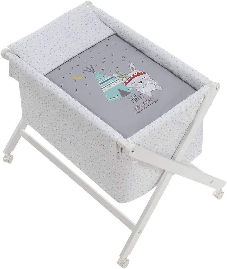 Minicuna mibebestore Plegable Tipi Gris: Estructura + Vestidura + Colcha Desenfuntable + Colchón + Almohada