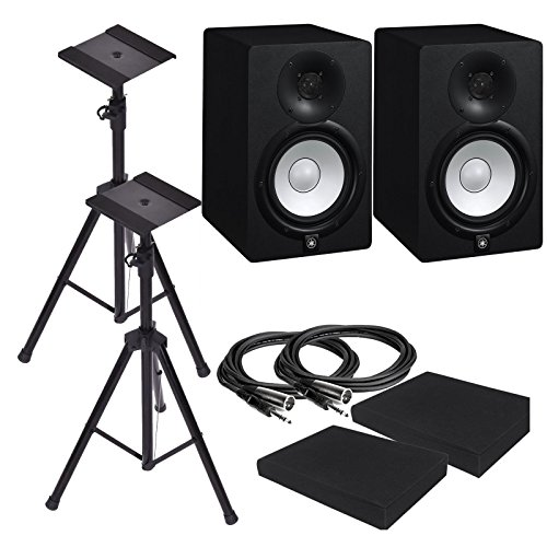 Yamaha HS7 7-Inch Powered Studio Monitor Speaker Black (Pair) with Pair of Height Adjustable Speaker Stands Tripod , High Density Studio Monitor Isolation Pads (Pair) and 2 x 10-Foot TRS to XLR Cables ()
