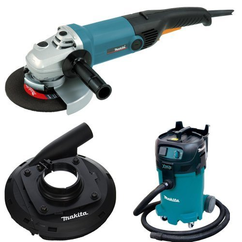 Makita GA7011C 7-Inch Angle Grinder, 195386-6 7-Inch Dust Extraction Surface Grinding Shroud, VC4710 12-Gallon Xtract Vac Wet/Dry Dust Extractor/Vacuum