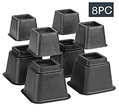 Bed Risers, Adjustable Heavy Duty, 8 Piece Set, 3 or 5 or 8 Inches Tall With Multi Height Function, For Any Bed Frame /Furniture / Table Riser & Lifts /College /Dorm /Room Accessories. By Katzco