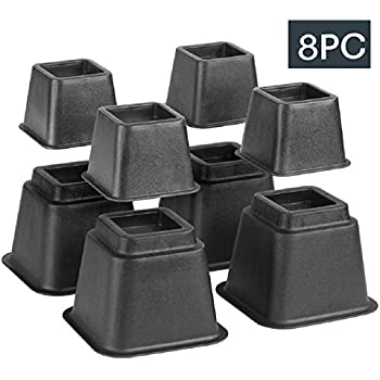 bed risers adjustable heavy duty 8 piece set 3 or 5 or 8 inches tall with multi height function for any bed frame furniture table riser lifts