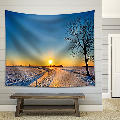 Sunset in a Cold White Winter Landscape Fabric Wall Tapestry
