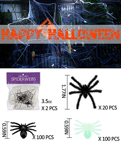 MEWTOGO Halloween 7.05oz Fake Stretch Spider Web with 224 pcs Fake Spiders- Super Stretch Cobweb Set with Assort Black Spiders for Party Bar Decorations]()