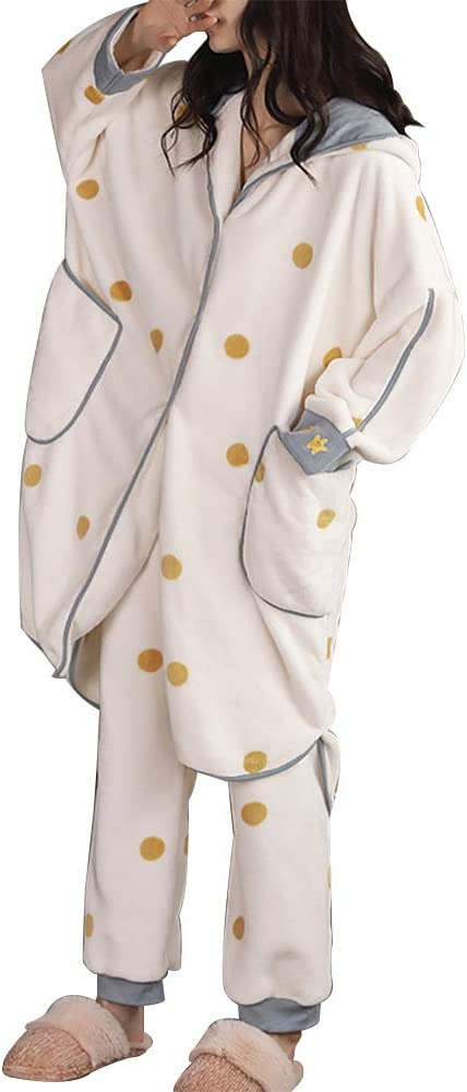 Details about  /2020Winter long warm nightgown ladies hooded coral fleece thick fleece pajamas