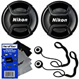 Nikon LC-52 Snap on Front Lens Cap for 18-55mm, 55-200mm, 24mm f/2.8D, 28mm f/2.8D, 35mm f/1.8G, 35mm f/2.0D, 40mm f/2.8G, 50mm f/1.4D, 50mm f/1.8D & 85mm f/3.5G Lenses + Universal Lens Cap Keeper w/ HeroFiber Ultra Gentle Cleaning Cloth (2 pack)