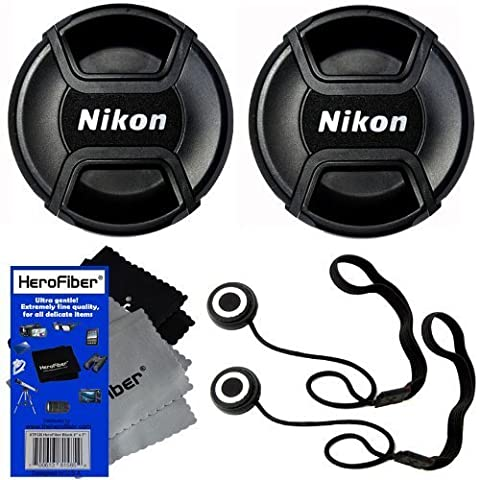 Nikon LC-52 Snap on Front Lens Cap for 18-55mm, 55-200mm, 24mm f/2.8D, 28mm f/2.8D, 35mm f/1.8G, 35mm f/2.0D, 40mm f/2.8G, 50mm f/1.4D, 50mm f/1.8D & 85mm f/3.5G Lenses + Universal Lens Cap Keeper w/ HeroFiber Ultra Gentle Cleaning Cloth (2 (Nikon 85 Mm D)
