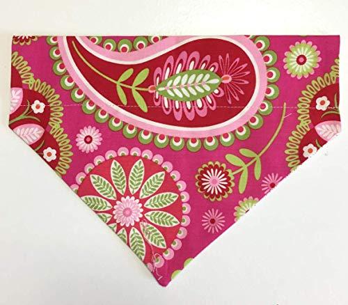 Dog Bandana Pink/Red Design no tie, slip over collar-Medium or Large -
