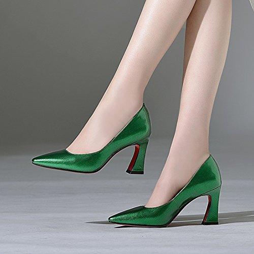 Boca para individuales Apuntadas alto Áspero Jqdyl Primavera Verano individuales Zapatos mujeres con Boca Zapatos baja Tacón Tacones para baja Green mujeres 5TwTPSxUq