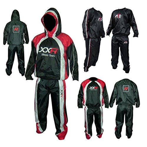 XXR Heavy Duty Sweat Suit Sauna Exercise Gym Suit Fitness weight loss and hooded (Black, Large)