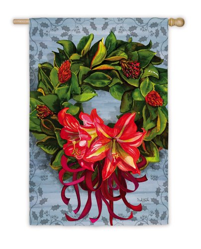 Evergreen Enterprises, Inc. Christmas Banner Flag Magnolia Wreath