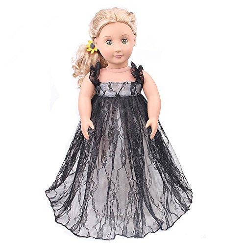 Wensltd Doll Clothes for 18 Inch Dolls Pretty Lace Dress Fits American Girl Dolls (Black)