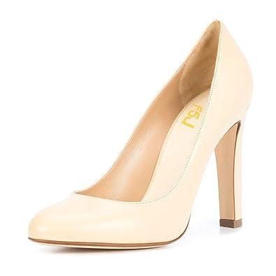 4e1b9375657 FSJ Women Elegant Round Toe Formal Pumps Slip On Office Dress Shoes Chunky  Heels Size 4