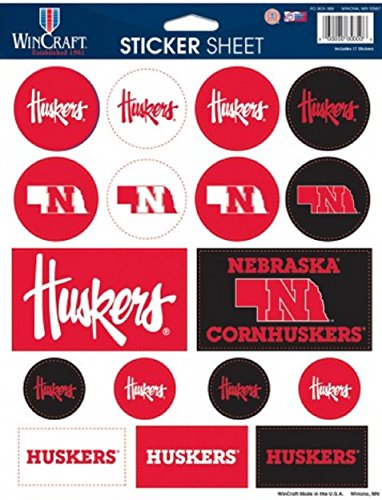 Wincraft NCAA University of Nebraska Vinyl Sticker Sheet, 8.5