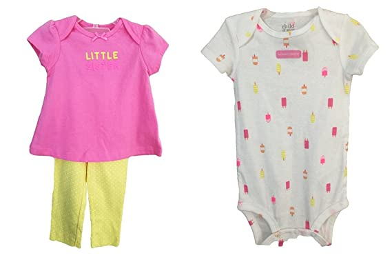 6c3689122 Image Unavailable. Image not available for. Color: Carter's Baby Girl's 3  Piece Pink Little Sister Mommy's Sweetie Set 12 Months