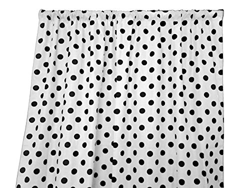 (Zen Creative Designs Polka Dots on White Cotton Curtain Panel Perfect for Bed Room Window, Children's Room Window, Living Room Window Decor (Black Dots, 84