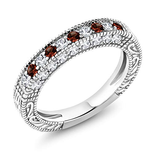 (1.00 Ct Garnet and White Created Sapphire 925 Sterling Silver Ladies Anniversary Wedding Band Ring,Red and White, ring size 9)