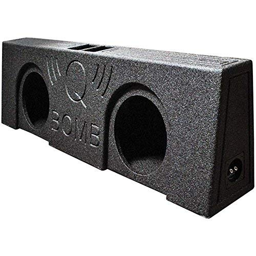 Dual 12″ Vented Speaker Box Ported Truck Bed Liner Wedge Subwoofer Enclosure