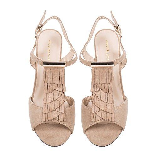 Ideal Shoes Sandale à Talon Dick Effekt Wildleder mit Fransen loreane Beige