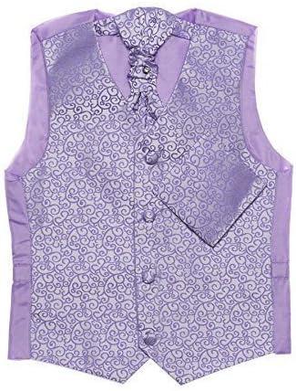 Paisley of London, Lila de los muchachos chaleco, corbata & pañuelo set, remolino chalecos, 3m - 14 años