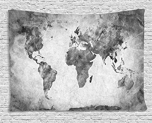 Ambesonne Modern Tapestry, Vintage World Map with Dark Nostalgic Tones Featured Displays Background Image, Wide Wall Hanging for Bedroom Living Room Dorm, 60 X 40 , Grey