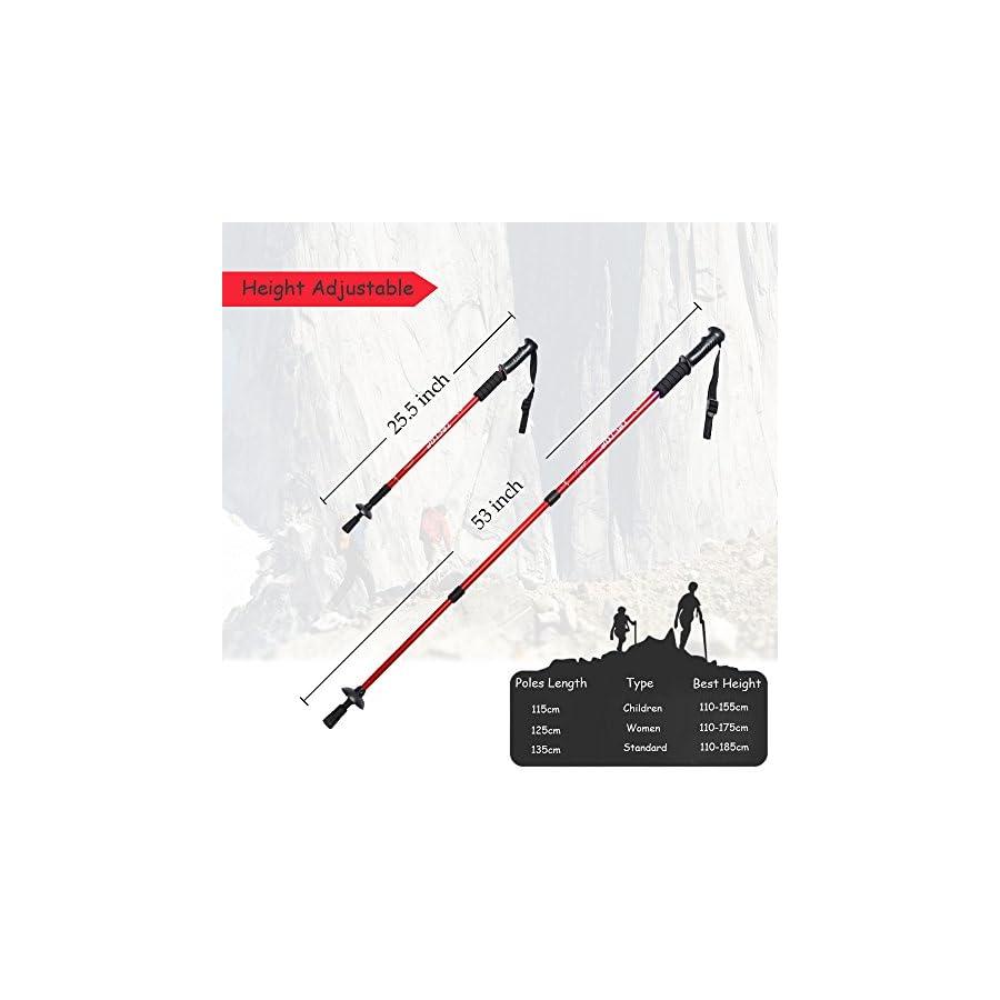 MiluoTech Walking Stick, Trekking Poles Ultralight & Adjustable Height and Anti Shock Backpacking Climbing Hiking Poles One Pair