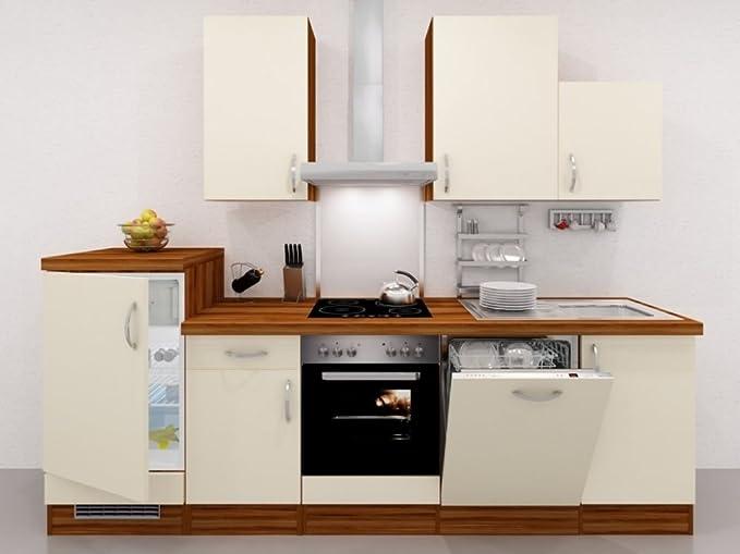 Küchenzeile 280 cm creme mit geräten und demischrank sienna amazon de küche haushalt