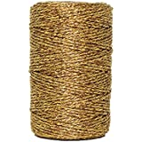 Just Artifacts Eco Metallic Bakers Twine 55yd 11 Ply Solid Gold - Decorative Bakers Twine for DIY Crafts and Gift Wrapping