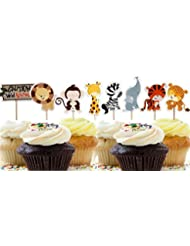 A Little Lemon 48 Pcs Cute Decorative Cupcake Muffin Toppers Wild Animals Zoo Zebra Lion Tiger Elephant Giraffe Baby Shower Birthday Party Favors