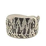 Nocona Women's Zebra Print Rhinestones Belt, Black, White, L