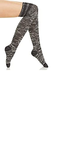 d80b2a7611c Image Unavailable. Image not available for. Color  Hue Women s Metallic- Stripe Textured Over-The-Knee Socks ...