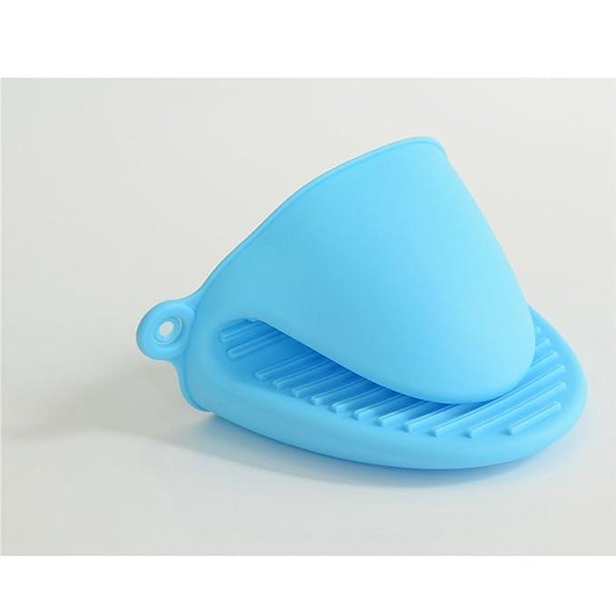 TIANOR 2 Pcs Guante de Cocina de Silicona Pinza para Cocina Manoplas para Horno de Silicona Resistente al Calor (Azul)