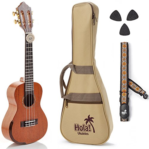 Concert Ukulele Professional Series by Hola! Music (Model HM-424SMM+), Bundle Includes: 24 Inch SOLID Mahogany Top Ukulele with Aquila Nylgut Strings Installed, Padded Gig Bag, Strap and Picks by Hola! Music