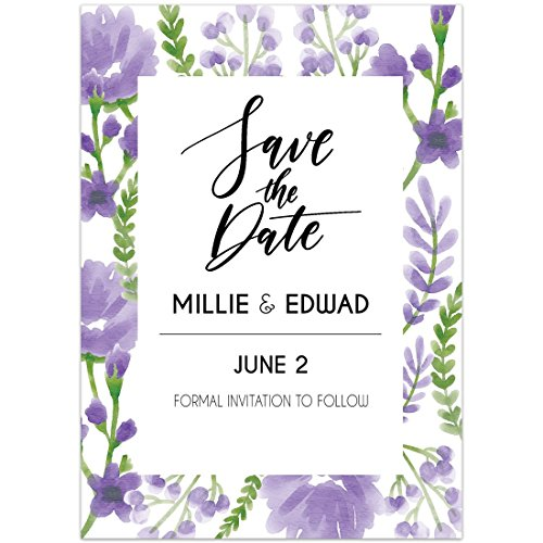 Lavender Flower Border Save The Date Wedding (Lavender Wedding Invitations)