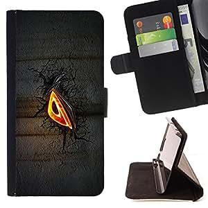 BullDog Case - FOR/Samsung ALPHA G850 / - / Evil Eye Glow /- Monedero de cuero de la PU Llevar cubierta de la caja con el ID Credit Card Slots Flip funda de cuer