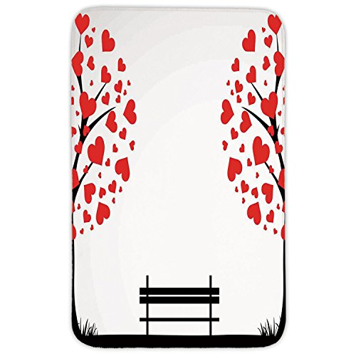 Rectangular Area Rug Mat Rug,Tree of Life,Trees with Hearth Shaped Leaves and a Bench Love Romance Nature Design,Black Red White,Home Decor Mat with Non Slip Backing