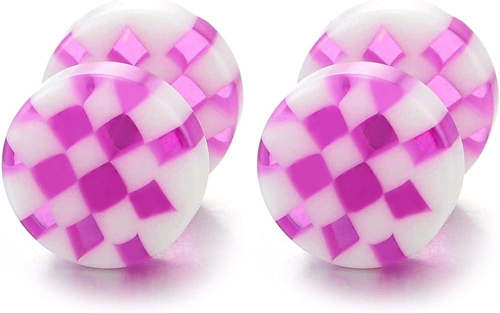 2pcs 8MM Black White Checker Circle Screw Stud Earrings for Men Women, Cheater Fake Ear Plug Gauge Tunnel