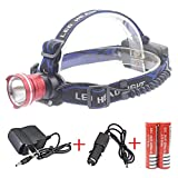 Minsk 3000 Lumens HeadLight CREE XML XM-L2 LED 3 Mode Waterproof Zoom Focus Front Light LED HeadLamp T6 LED Camping Fishing 2 x 4200mAh battery (Red)
