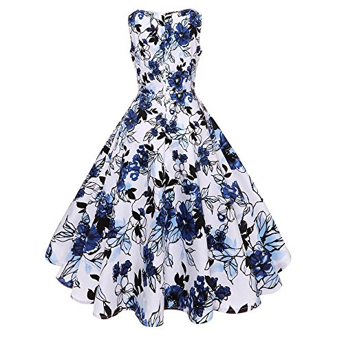 Women Dresses Godathe Women O Neck Floral Print Vintage Gown Sleeveless Party Prom Swing Dress S-2XL ()