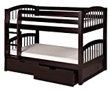Camaflexi Arch Spindle Style Solid Wood Low Bunk Bed with Drawers, Twin-Over-Twin, Side Attached Ladder, Cappuccino