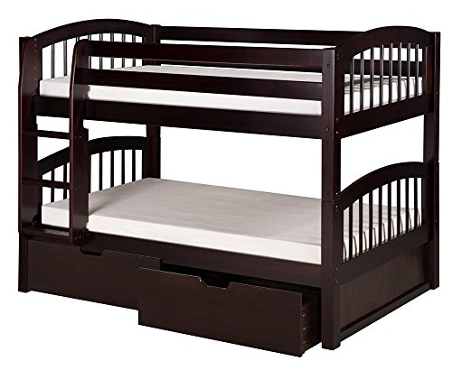 Camaflexi Arch Spindle Style Solid Wood Low Bunk Bed with Drawers, Twin-Over-Twin, Side Attached Ladder, Cappuccino (Place Twin Loft Bed)