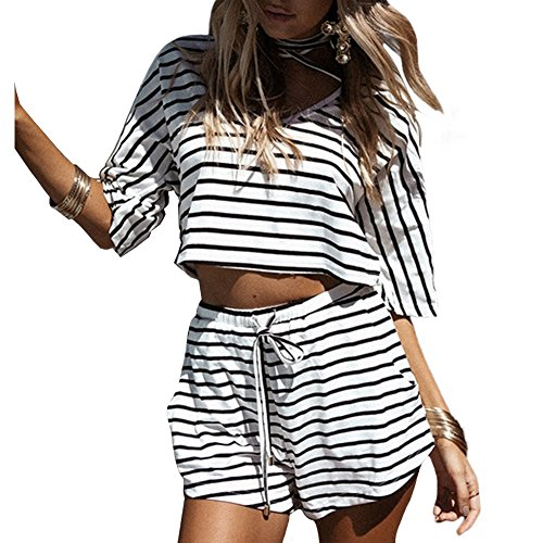 Fine Stripe Short (Romacci Women's Summer 2 Piece Outfits Casual Stripe V Neck Crop Tops Shorts Set Beach Rompers Playsuits)