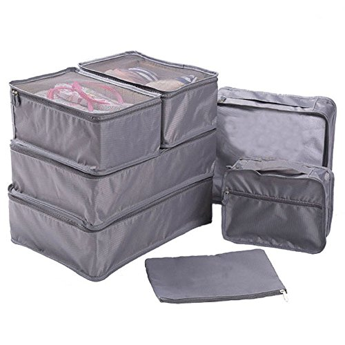 Clothes Travel Luggage Organizer Pouch (Grey) Set of 6 - 8
