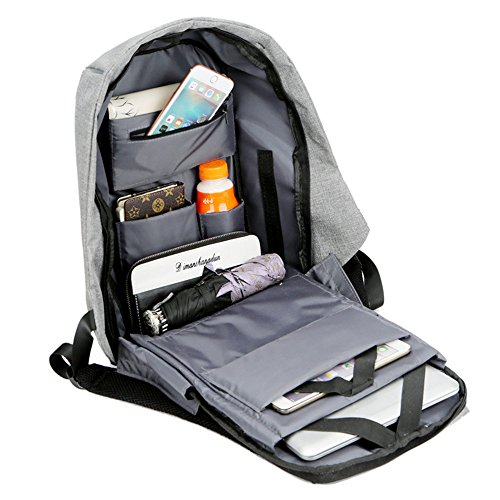 Hombres Impermeables Bolsa de Ordenador Color Sólido Bolso del Senderismo Portátil Mochilas Estudiantes Deporte Mochila de Escolar Backpack/Daypacks (Negro) Gris-s