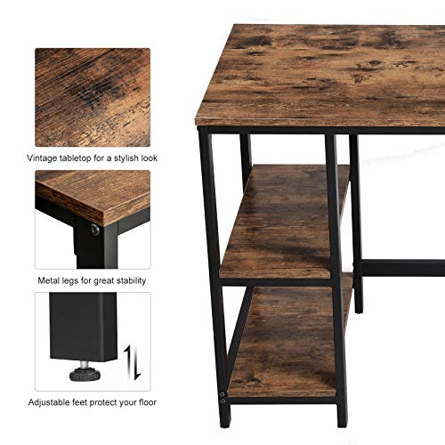 VASAGLE Industrial Writing, Computer, 47'' Office Study Desk with 2 Storage Shelves on Left Right, Stable Metal Frame, Easy Assembly ULWD47X, Rustic Brown by VASAGLE (Image #5)