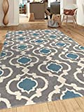 Rugshop Moroccan Trellis Contemporary Indoor Area Rug, 7'10'' x 10'2'', Gray/Blue