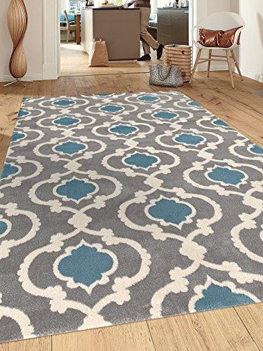 Rugshop Moroccan Trellis Contemporary Indoor Area Rug, 7'10'' x 10'2'', Gray/Blue by Rugshop